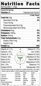 Spirulina Nutrition Facts copy